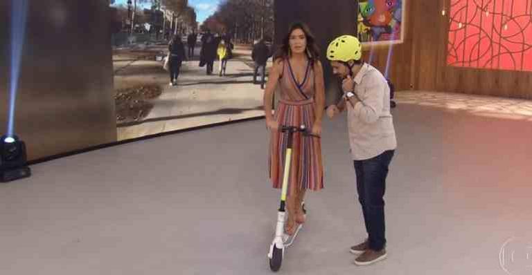 Fátima anda de patinete de salto no palco do 'Encontro'