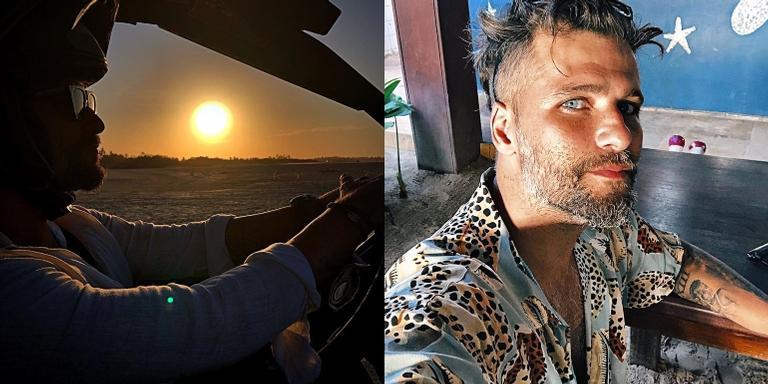 Bruno Gagliasso posta foto com pôr-do-sol ao fundo
