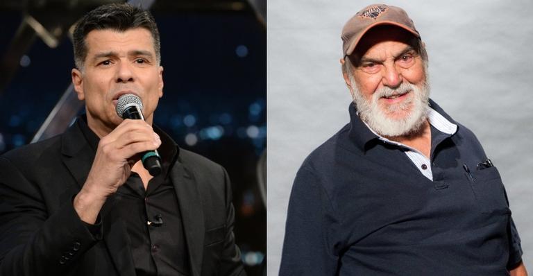 O ator se mostrou emocionado com a fala do veterano, que refletia sobre a morte de Flávio Migliaccio