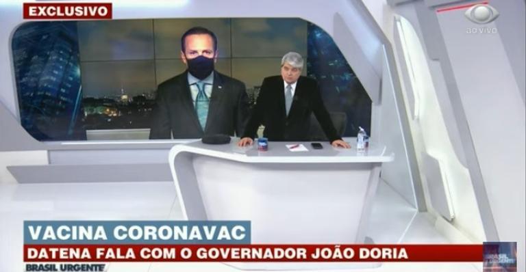 Jornalista e governador falavam sobre os efeitos da pandemia e a vacinacontra coronavírus