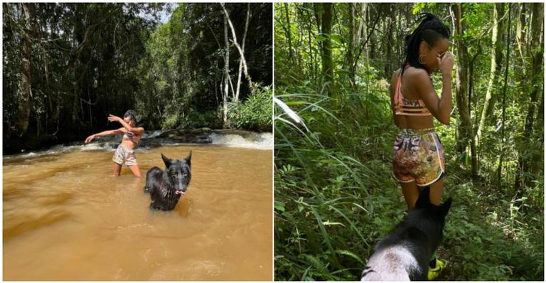 Ex-'BBB21', que saiu do programa com o recorde de maior rejeição da história, publicou registros com o cachorro de estimação em uma cachoeira