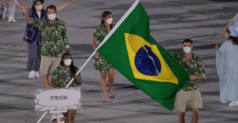 A delegação brasileira foi uma das últimas a desfilar na cerimônia